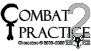 The beta logo for the Combat Practice 2 game, incorporating Luna's sickle and a credit line for The-F0X.