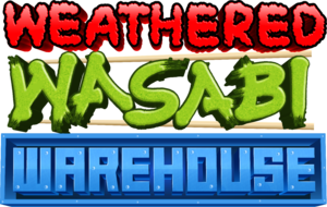 The Studio RGB-Newt logo above the beta logo for the Weathered Wasabi Warehouse game.